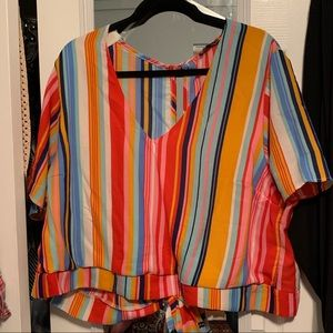 Charlotte Russe Plus Size Striped Open Back Top 2X